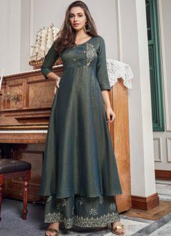 Outstanding Grey Cotton Party Wear Salwar Kameez