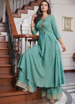 Wonderful Sky Blue Cotton Party Wear Salwar Kameez