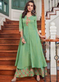Stunning Green Cotton Party Wear Salwar Kameez