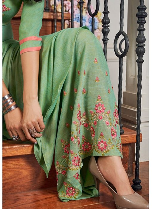 Stunning Green Cotton Party Wear Salwar Kameez