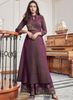 Extraordinary Purple Cotton Party Wear Salwar Kameez