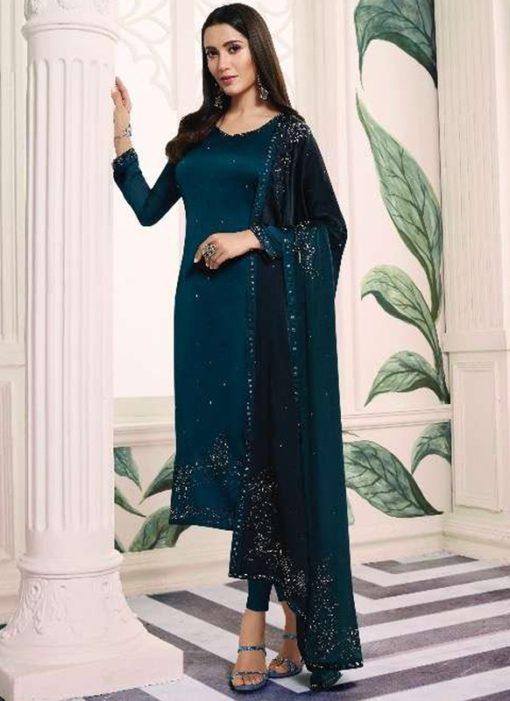 Graceful Navy Blue Satin Designer Churidar Salwar Suit