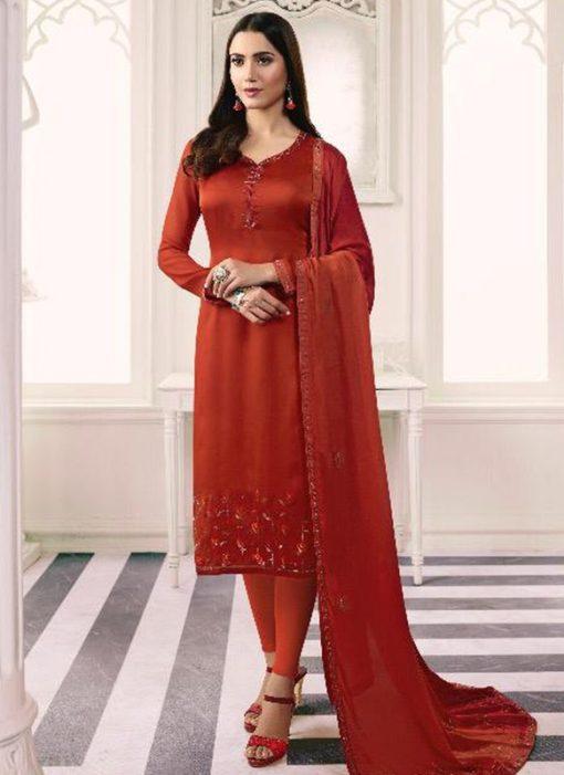 Artistic Red Satin Designer Churidar Salwar Suit