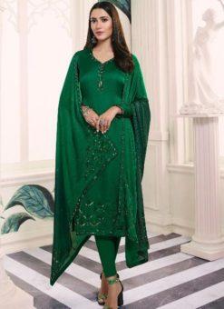 Exquisite Green Satin Designer Churidar Salwar Suit