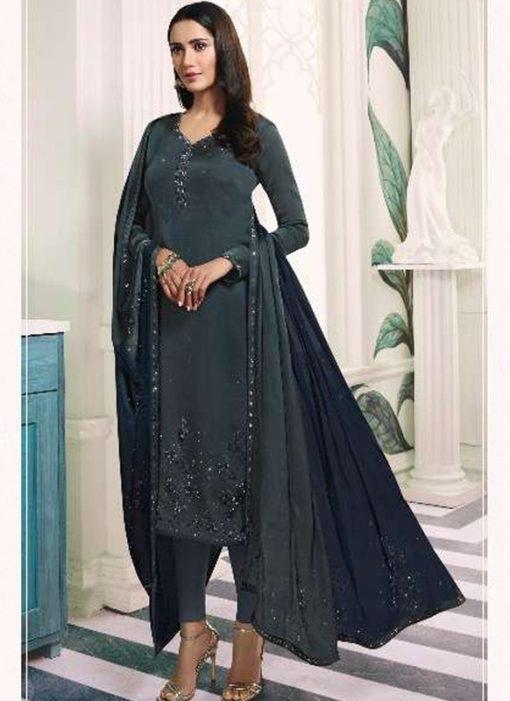 Superb Grey Satin Designer Churidar Salwar Suit