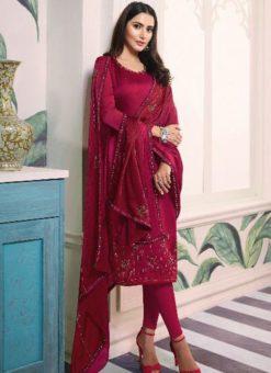 Fabulous Magenta Satin Designer Churidar Salwar Suit