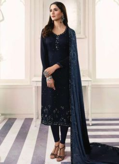 Astonishing Black Satin Designer Churidar Salwar Suit