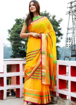 Prodigious Yellow Art Silk Casual Wear Saree