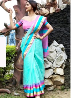 Fantastic Sky Blue Art Silk Casual Wear Saree