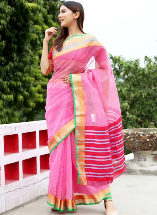 Superb Light Pink Art Silk Casual Wear Saree