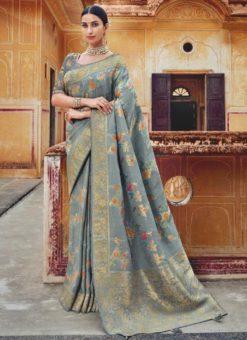 Sparkling Grey Silk Zari Weaving Wedding Saree