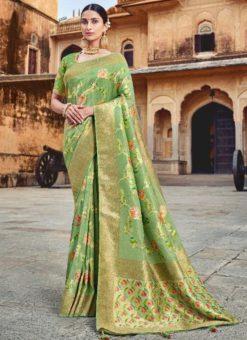 Shining Green Silk Zari Weaving Wedding Saree