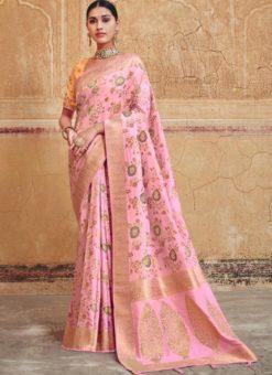 Dazzling Pink Silk Zari Weaving Wedding Saree