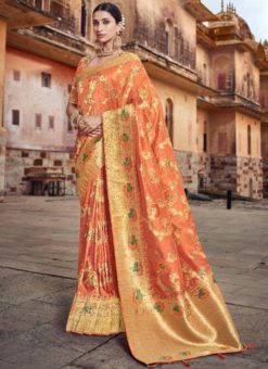 Amazing Orange Silk Zari Weaving Wedding Saree