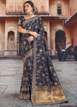 Superb Navy Blue Silk Zari Weaving Wedding Saree