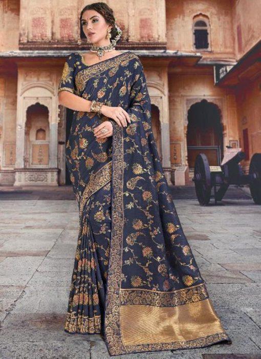 Superb Navy Blue Silk Zari Weaving Wedding Saree