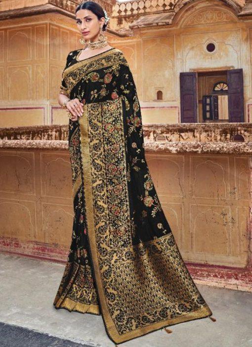 Majestic Black Silk Zari Weaving Wedding Saree