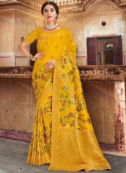 Sublime Yellow Silk Zari Weaving Wedding Saree