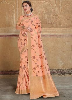 Fantastic Peach Silk Zari Weaving Wedding Saree