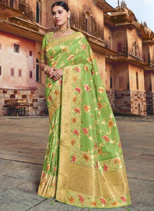 Awesome Green Silk Zari Weaving Wedding Saree