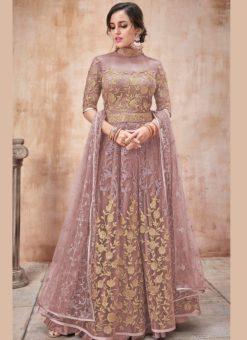 Charming Pink Net Designer Wedding Anarkali Suit