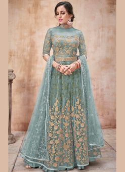 Amazing Sea Green Net Designer Wedding Anarkali Suit