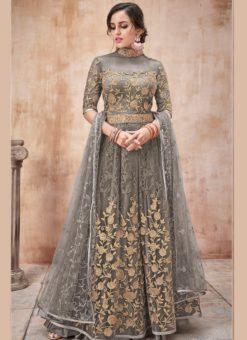 Lovely Grey Net Designer Wedding Anarkali Suit