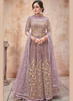Elegant Purple Net Designer Wedding Anarkali Suit