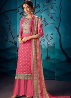 Lovely Red Kausri Silk Party Wear Palazzo Suit