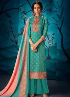Beautiful Blue Kasuri Silk Party Wear Palazzo Suit