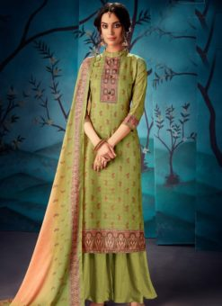 Exquisite Green Kasuri Silk Party Wear Palazzo Suit