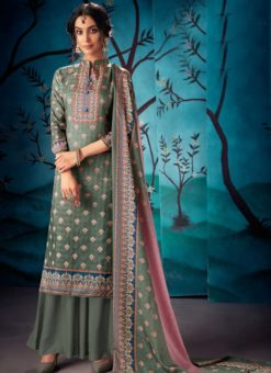 Pretty Grey Kasuri Silk Party Wear Palazzo Suit