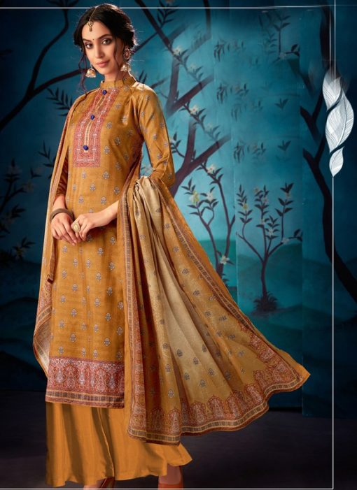 Ravishing Mustard Kasuri Silk Party Wear Palazzo Suit
