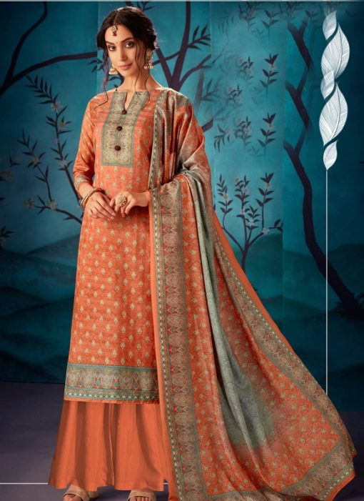 Fantastic Orange Kasuri Silk Party Wear Palazzo Suit