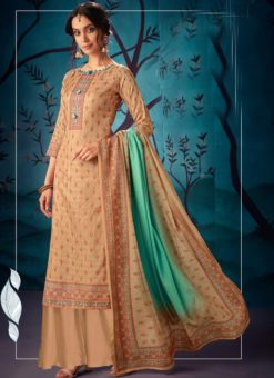 Impressive Beige Kasuri Silk Party Wear Palazzo Suit