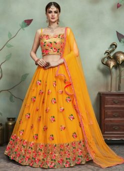 Designer Wedding Embroidery Yellow Soft Net Lahengha Choli