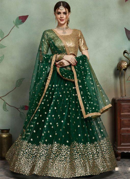 Designer Wedding Embroidery Dark Green Soft Net Lahengha Choli