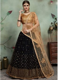 Designer Wedding Embroidery Black Soft Net Lahengha Choli