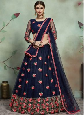 Designer Wedding Embroidery Navy Blue Soft Net Lahengha Choli
