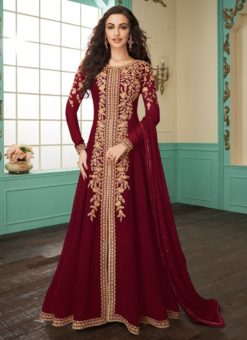 Blissful Maroon Georgette Embroidered Anarkali Salwar Kameez