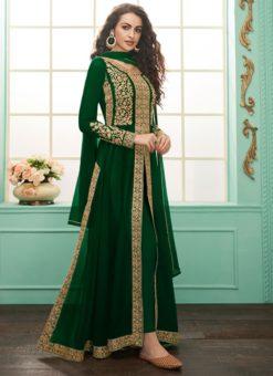 Classy Green Geoergette Embroidered Anarkali Salwar Kameez