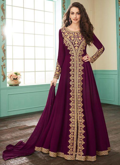 Mesmerizing Purple Embroidered Georgette Anarkali Salwar Kameez