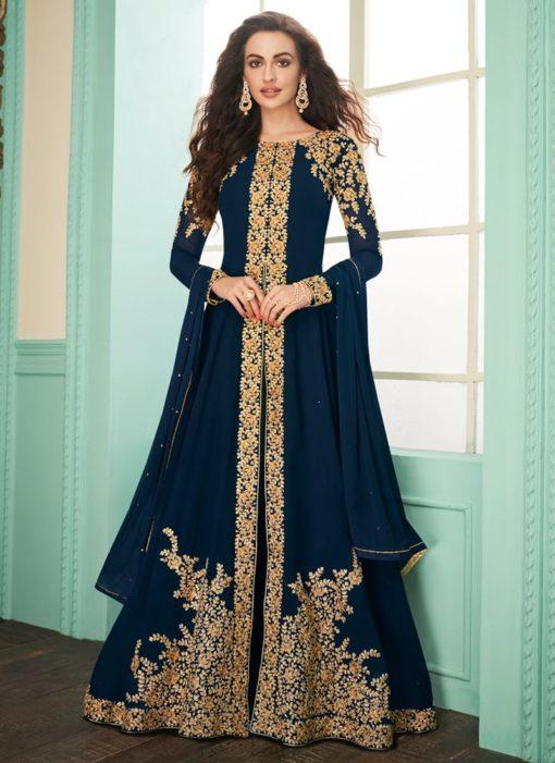 Pleasing Navy Blue Georgette Designer Anarkali Salwar Kameez