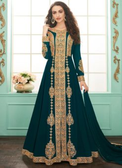 Alluring Teal Georgette Embroidered Anarkali Salwar Kameez
