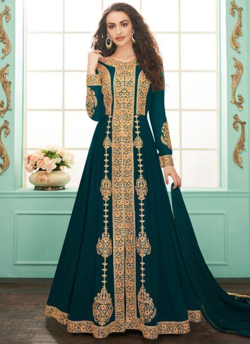 Alluring Teal Georgette Embroidered Anarkali Salwar Kameez