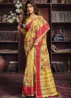 Lovely Yellow Cotton Digital Printed Casual Saree