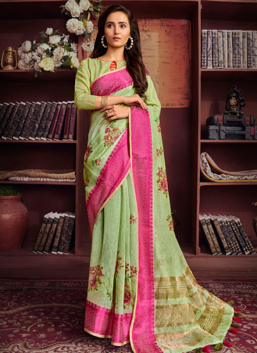 Shining Pista Green Cotton Digital Printed Casual Saree
