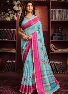 Amazing Sky Blue Cotton Digital Printed Casual Saree
