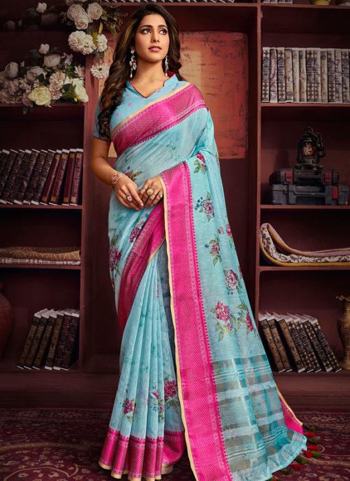Amazing Sky Blue Cotton Digital Printed Casual Saree