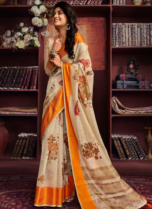 Superb Beige Cotton Digital Printed Casual Saree